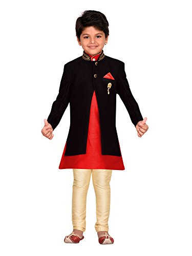AJ Dezines Boys Indo Western Sherwani Set for Kids (619_BLACK_2)