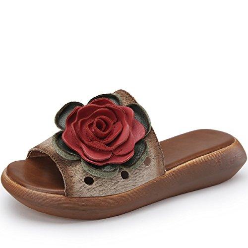Croûte épaisse Fleur Confortables Sandales Ouvertes à Bout-vent National Kaki