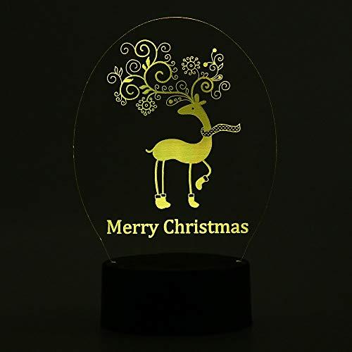 H Blume 3D USB LED LAMPE Hirsch Frohe Weihnachten Dekor Romantisches Zuhause Geschenk Lampe Farbverlauf Fairy Light Schreibtisch Tisch RGB ()