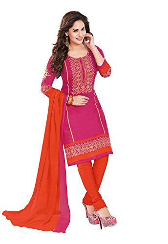 Ishin Women's Synthetic Pink & Orange Bollywood Printed Unstitched Salwar Suit Dress Material (Anarkali/Patiyala) With Dupatta  available at amazon for Rs.299
