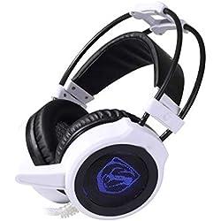 MXECO G2 Casque de Gaming Audio de Haute qualité 3,5 mm avec Microphone stéréo Bass Game Playing Headset (Blanc (lumière Blanche et Vibration f))
