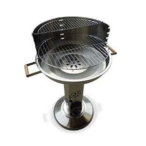 Alice's Garden - Barbecue cheminée charbon 51cm - Marcel Inox - Barbecue avec aérateurs, récupérateur de cendres