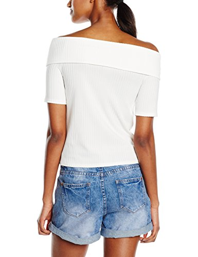 New Look Varigated Rib Bardot - Top Donna Avorio (Cream)