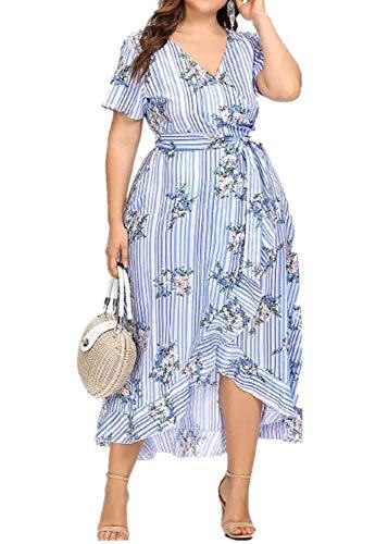 übergröße Kleider Damen Kolylong® Frauen Elegant V-Ausschnitt Blumen Kleid 3/4 arm Festlich Chiffon Langarm Kleider Midi Große Größen Kleid Lang Cocktail Partykleid Abendkleid (Blue-01, XXL) (Plus Größe Chiffon-kleid)