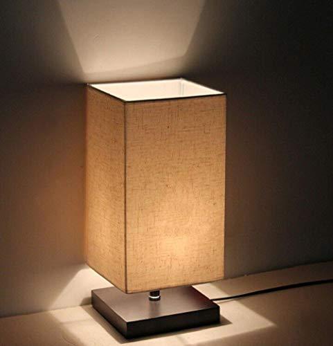 DLLT Tischlampe aus Holz, Nachttischlampe Vintage, Stehlampe Modern auf Tisch, E27-Fassung & EU-Stecker Warmweiß für Wohnzimmer, Kinderzimmer, Schlafzimmer, Esszimmer Eckig Gelb