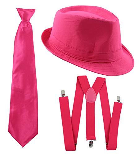 Foxxeo Gangster Kostüm Set für Damen & Herren I Hut - Hosenträger - Krawatte I Pink