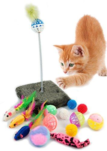Los juguetes ideal para los gatos, con ellos se pasarán horas jugando a perseguirlos y a capturarlos, satisfaciendo así su instinto de caza. La textura de sus materiales encantará a tu mascota y sus colores atraerán su atención.  El juego perfecto pa...