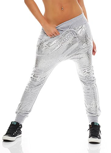 zarmexx-damen-jogpants-silberfarbener-print-reptilien-look-jogginghose-jogger-sommerhose-one-size-ei