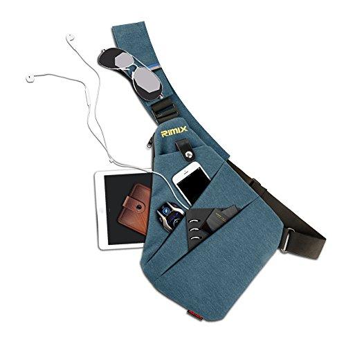 RIMIX Borsa di sicurezza nascosta Borsa sotto la spalla Armpit Messenger borsa Sport Tempo libero Torcia Borsa Zaino portatile per soldi telefonici Passaporto Tattico Borsa (Grigio/Per Mano Destra) Blu/Per Mano Sinistra