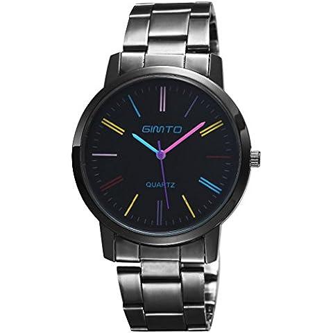 gimto Unisex moda minimalista Cuarzo Reloj Reloj de pulsera gm103para niños niñas con correa de acero inoxidable, color multicolor mano y escala