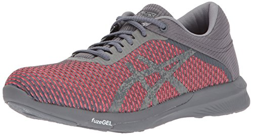 ASICS Women's FuzeX Rush cm Running Shoe, Carbon/Carbon/Flash Coral, 10.5 Medium US (Asics Womens Shoes Athletic Grau)