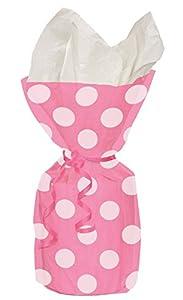 Shatchi 20 bolsas de celofán con lunares rosas con lazos para Navidad, cumpleaños, día de la madre, despedida de soltera, regalo de dulces decoraciones
