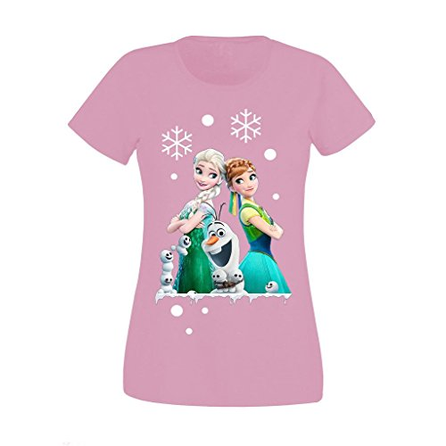 11 Womens T-shirt (Women's Ladies Frozen Disney Queen Elsa Anna And Olaf Merry Ymas High Quality Printed T Shirts UK Size 8-16 (Small) Pink)