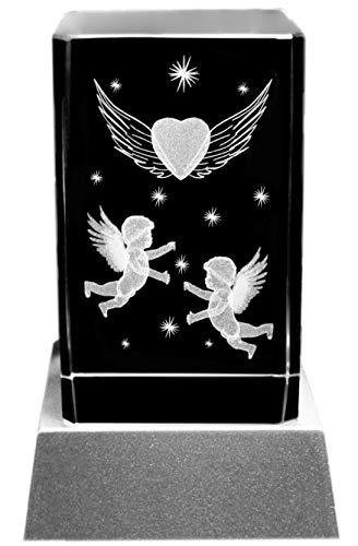 Kaltner Präsente Stimmungslicht - Das perfekte Geschenk: LED Kerze/Kristall Glasblock / 3D-Laser-Gravur Motiv Engel Herz Sterne -