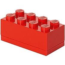 Lego 40121730 - Caja de almacenaje (8 compartimientos), diseño pieza de lego, color rojo