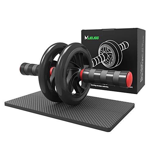 MUEUSS AB Roller Wheel Bauchtrainingsrad für Bauch- und Körpertraining Rollrad Heim-Fitnessgeräte - AB Roller mit innovativem rutschfestem Gummi, extra dickem Kniepolster (Schwarz & Rot)