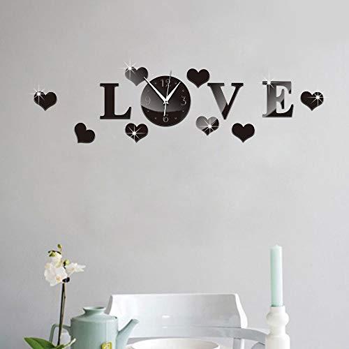 Wandaufkleber,Plastic 3D Black Mirror Effect Stickers Wall Clock Love Decals Home Decor Bedroom Decoration Wall Sticker for Kids Room Decorating