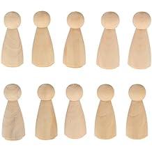 10pcs macho novio claro blanco clavija muñecas Primeros de la torta de boda Figuras de madera - 3, 6mm