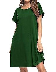 Vestidos de Manga Corta Lisos para Mujer - Verano O Cuello Manga Corta Casual Bolsillos SóLidos Vestido de Camiseta