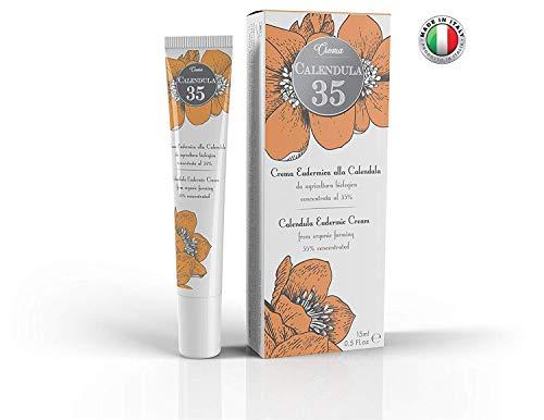 Calendula 35 - Crema eudérmica - LA MÁS CONCENTRADA - Específica para quemaduras, eritemas, psoriasis y cuidado de la piel - Con pantenol y vitamina F - 15 ml