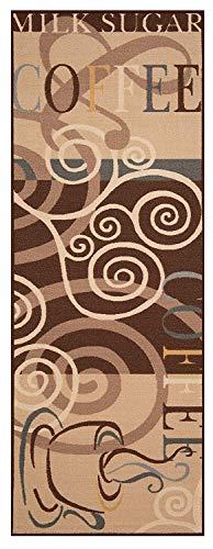 Bavaria-Home-Style-Collection Küchenläufer Läufer Teppich Braun Coffee Break Cappuccino Muster Größe 67x180 cm - modern - Motiv Kaffee - Teppiche - Kitchen Deko - Flur - Esszimmer -
