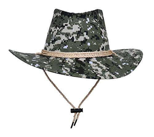 e 58-60cm-Modern Damen Jazz Hut Strohhüte Cowboy Hüte Westernhut Ranger Hut Buschhut Pork Pie-Hüte Sonnenhüte Tarnung hüte Grün/Beige (Grüne Cowboy-hut)