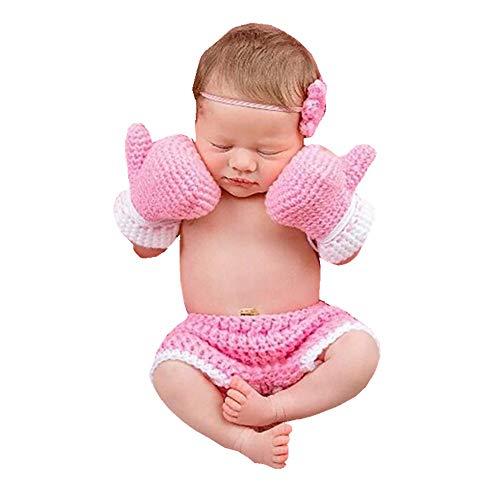 Baby Boxhandschuh Set Handarbeit Häkeln Gestrickte Neugeborene Fotografie Prop Hosen Outfits (Color : Pink, Size : - Baby Boxhandschuhe Kostüm