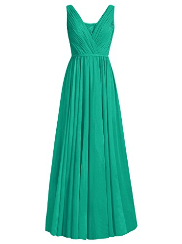 Dresstells Robe de cérémonie Robe de demoiselle d'honneur forme empire col U longueur ras du sol Vert