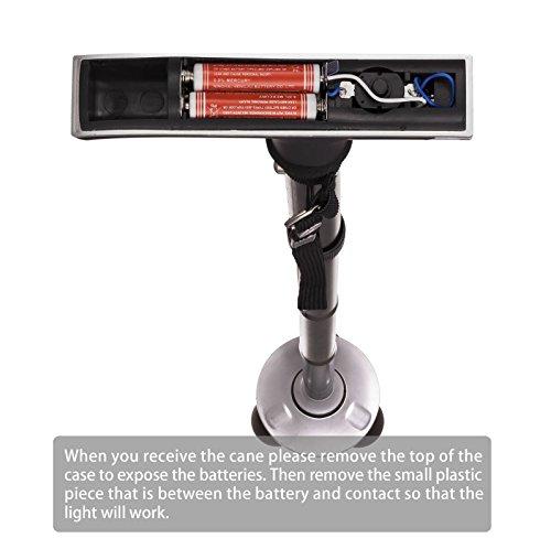 41BaZve5hsL - ZB LED Light Walking Stick Sponge Handle Adjustable Folding Cane Walking Stick With Carrying Case (Black)
