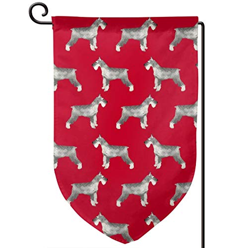 vintage cap Schnauzer Dog Dogs red Polyester Garden Flag House Banner 12.5 x 18 inch, Two Sided Welcome Yard Decoration Flag for Wedding Party Home Decor -