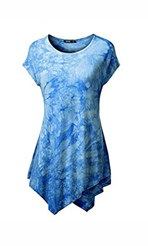 Women Short Sleeve Comfy Loose Fit Long Tunic Top With Various Color
