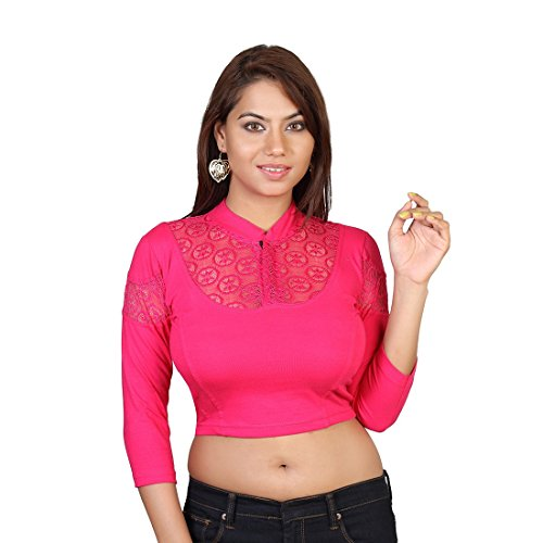 Areum Pink 3/4th Sleeve Collar Neck Cotton Lycra Stretchable Readymade saree Blouse