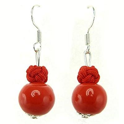 Boucles D'oreilles femme Perle porcelaine émail rouge orangé vermillon boule fil