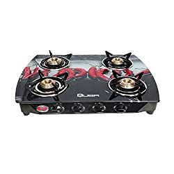 Quba B4 Digital Premium Designer Red Chilly Glass 4 Burner Auto Ignition Gas Stove