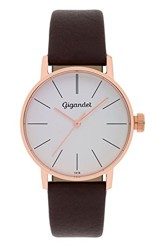 Gigandet Women's Quartz Wrist Watch Minimalism Analogue Leather Strap Rose Gold Brown G43-004