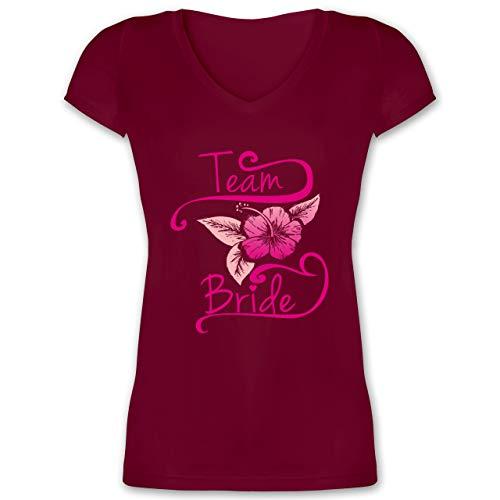 JGA Junggesellinnenabschied - Team Bride Blume Pink - XS - Bordeauxrot - XO1525 - Damen T-Shirt mit V-Ausschnitt
