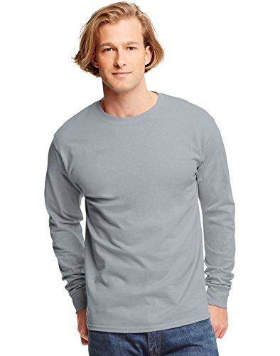 hanes-t-shirt-a-manches-longues-homme-gris-light-steel-xl