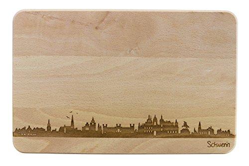 Brotzeitbrett Schwerin Skyline | Frühstücksbrettchen aus Buche | Holz Schneidbrett | Geschenk mit Gravur | Frühstücksbrett | Mecklenburg-Vorpommern (ohne persönlicher Gravur)