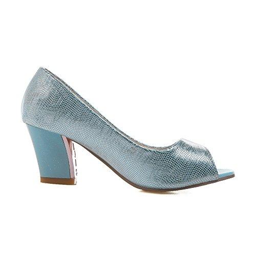 Ziehen Schuhe Leder Rein Pu Allhqfashion Sandalen Mittler Absatz Blau Damen Auf Fischkopf wq88xIH5