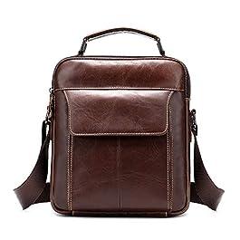 BAIGIO Borsa a Tracolla Uomo Vera Pelle Borsello Vintage Borsa a Spalla Messenger Bag, Marrone
