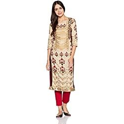 W for Woman Women's Straight Kurta (17AU17077-50568_New Tussar Silk_8)