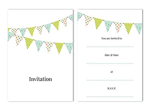 Party Invitations - 'Bunting' - 24 x A6 postcard size cards - suitable for any celebrations! (With