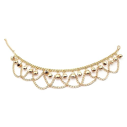 D Schmuck 18k Gold überzogenes Kupfer-Frauen Fußkettchen-Armband-Ketten-Bell-Anhänger gedrehtes Seil Einstellbare ()