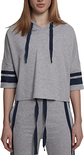 Urban Classics Damen Ladies Taped Short Sleeve Hoody Kapuzenpullover, Grau (Grey/Navy 01199), Small (Herstellergröße: S) -