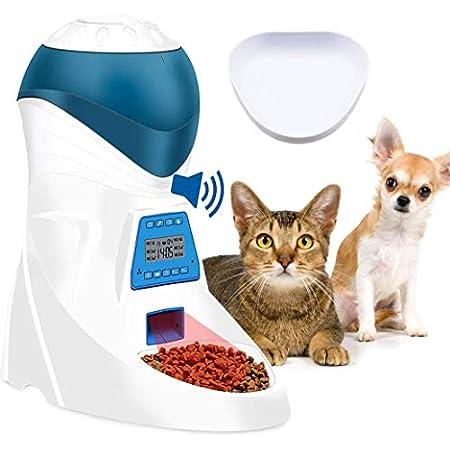 Jnwayb Futterautomat,Automatischer Futterspender mit akustischer Benachrichtigung und Timer Funktion, 6 Mahlzeiten für Hunde und Katzen,Infraroterkennung,Dual-Stromquellen
