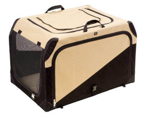 HUNTER Hundetransportbox, Autobox, strapazierfähig, zusammenklappbar, 91 x 61 x 58 cm, beige/schwarz
