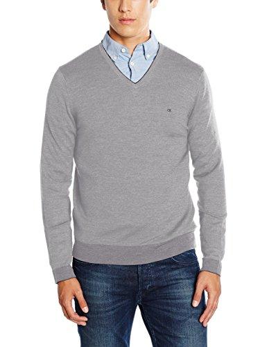 Herren V-neck Wolle Pullover (Calvin Klein Herren Pullover Smith V-Neck, Grau (Greto 050), X-Large)