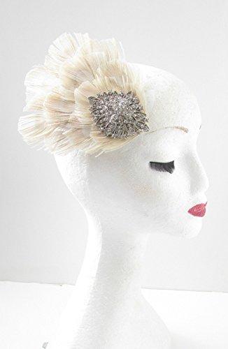 Argent et Strass Ivoire plumes à cheveux de mariée vintage années 1920 39 * * * * * * * * exclusivement vendu par – Beauté * * * * * * * *