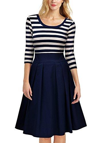 Miusol Damen Vintage 1950er Streifen Rund Ausschnitt 3/4 Arm Retro Schwingen Pinup Rockabilly Kleid Navy Blau Gr.M - 4