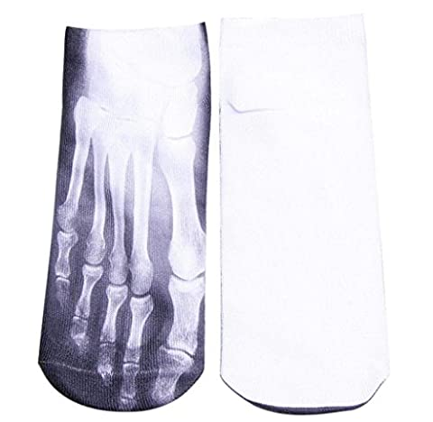 Chaussettes Elyseesen Man's Womens 3D Printed Funny Crazy Novelty Low Cut Ped Cute Athletic Socks (Blanc)